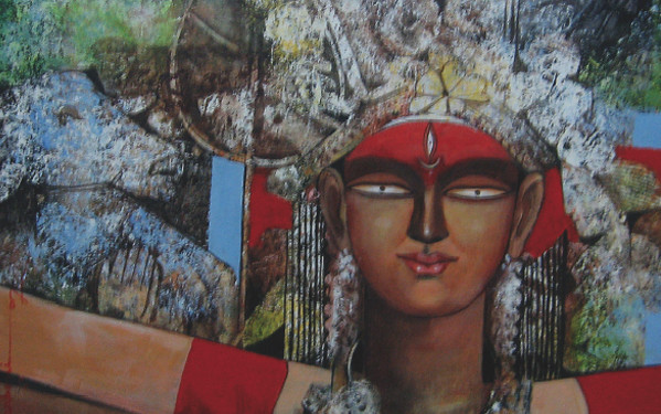 "SHIBANI (ACRYLIC ON CANVAS SIZE 22""*18""), SARBANI GANGULY, ANASTASIA GALLERY The enormous courage of the mighty Goddess Durga also named as ""Shibani"" exists in her stupendous strength to conquer the unconquerable and triumph over the evil spirits to spread the crimson espirit of adoration, ardour, vigour and vitality."
