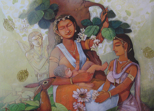 """THE ETHEREAL BIRTH (SIZE 36""""*36""""ACRYLIC ON CANVAS), ASHOKE GANGUL, ANASTASIA GALLERY Siddhartha born in the natural garden of Lumbini in the midst of welcoming ethereal respect from all living being and the world around. Siddhartha meaning """"he who attains his objective"""" was highly honoured at birth by the Mother Nature herself, as well as the hermit and the sages who predicted his inevitable path to glory and enlightenment."""