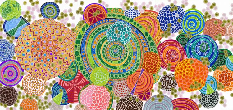 TZENG Yong-Ning (CENG Jung-ning): Ősi ritmus 15 (triptichon). 2009. 111 x 486 cm, golyóstoll, papír. A művész tulajdona. / TZENG Yong-Ning: Original Rythm 15 (triptych). 2009. 111 x 486 cm. ball point pen, paper. Courtesy of the artist.