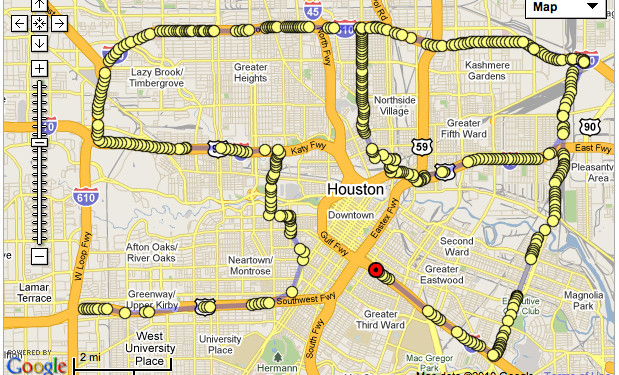 HOUSTON Houston is the only big city on US 59 from Lorado (Mexico) to Winnipeg (Canada). Performance City Drawing in Houston was made on February 20, 2010. Drawing started at 17:54:05 on US 59 at West Loop Fwy and finished at 19:19:59 just before intersection of Gulf Fwy with US 59. Hiram Levy was driving, Irina Danilova was navigating and computer was tracking the route from the hotel room.