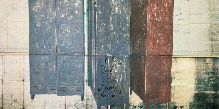 Lello Lopez-SEI GUESTO-project The factory-2010-acrylic on blueprint-cm160x220
