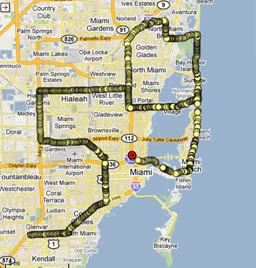 MIAMI BEACH What is similar between Miami and New York? They both have multiple 59th streets and for a week in December Miami becomes a center of world art. The Miami performance was on December 05.09 (Miami Beach on December 06.09) during Basel Miami Fair. While Irina Danilova was driving around Miami and Miami Beach, Hiram Levy was tracking and navigating the car's movement from Princeton. The December 5th performance started at 5:25pm at the corner of N. Kendall Drive and SW 86 Street and ended at 8:11pm at the corner of Andalusia and SW 37th Ave. The December 6th performance started at 8:45 am at the intersection of SW 87 Ave. with SW 72nd St. and ended at 11:20 am on US I95 above NW 19th St.