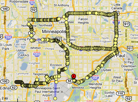 MINNEAPOLIS This drawing was made during Hiram Levy's trip to Rochester Minnesota, within 2 hours driving of Minneapolis. Driving performance was made by Hiram on July 23, 2010. Irina Danilova was navigating and tracking from Brooklyn. Drawing started on W. 59 Street at 7pm (18:42) and after driving 59 miles and making 59 turns, finished at 9 pm (20:51) at S Mississippi River Blvd. Minneapolis city area is (almost) 59 square miles and Minneapolis Days Inn Mall Of America/Airport hotel has 59 reviews on Tripadvisor. There is also the Minneapolis Federation of Teachers Local 59.