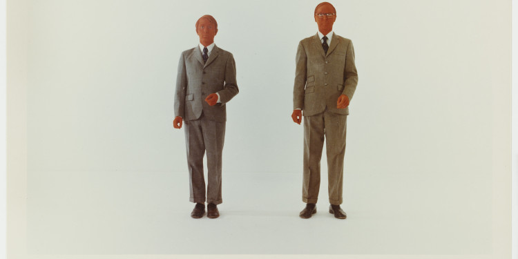 "Gilbert & George. The Red Sculpture. 1975. Chromogenic color print with text. 9 1/8 x 13 7/8"" (23.2 x 35.2 cm). The Museum of Modern Art, New York. Art & Project/Depot VBVR Gift. © 2010 Gilbert & George"
