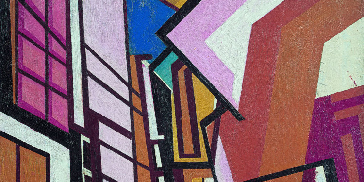 Wyndham Lewis Laboratorio, c. 1914-1915 Olio su tela Tate: acquisto 1974 Image courtesy of Tate Photography © By kind permission of the Wyndham Lewis Memorial Trust (a registered charity)