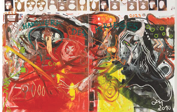 Jonathan Meese, HEY HOTTIECHEN: SCHNULLER DIR DIE SAUKUNST, es bringt's…, 2010 Technique mixte sur toile, 260 x 372 cm, diptyque/diptych, mixed media on canvas, 103 x146 in. Courtesy Galerie Daniel Templon, Paris/ Photo : Jochen Littkemann, Berlin