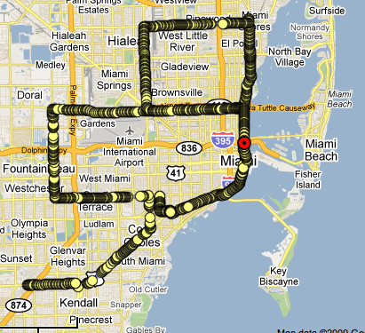 MIAMI What is similar between Miami and New York? They both have multiple 59th streets and for a week in December Miami becomes a center of world art. The Miami performance was on December 05.09 (Miami Beach on December 06.09) during Basel Miami Fair. While Irina Danilova was driving around Miami and Miami Beach, Hiram Levy was tracking and navigating the car's movement from Princeton. The December 5th performance started at 5:25pm at the corner of N. Kendall Drive and SW 86 Street and ended at 8:11pm at the corner of Andalusia and SW 37th Ave. The December 6th performance started at 8:45 am at the intersection of SW 87 Ave. with SW 72nd St. and ended at 11:20 am on US I95 above NW 19th St.