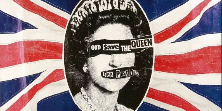 Jamie Reid, Manifesto per l'uscita di The Sex Pistols, God Save the Queen, 1977, stampa su carta