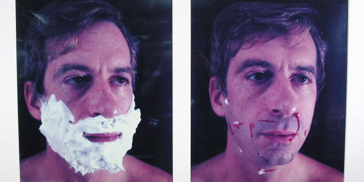 "William Wegman. Foamy Aftershave (L-Foamy; R-Aftershave). 1982. Color instant prints. 28 1/2 x 22"" (72.4 x 55.9 cm) each. The Museum of Modern Art, New York. Gift of Robert and Gayle Greenhill. © 2010 William Wegman"