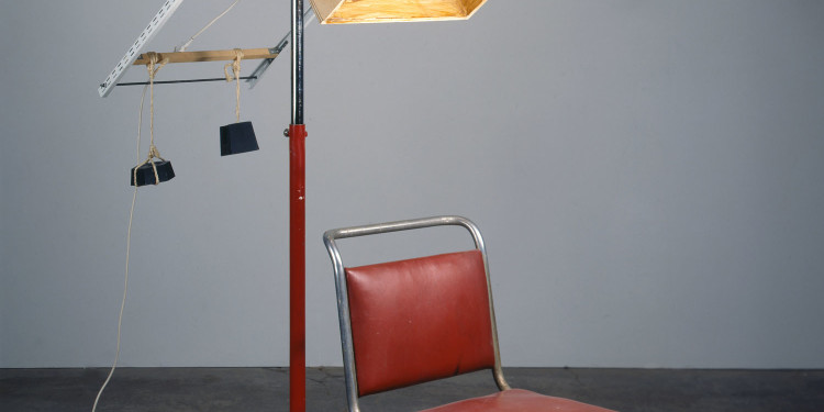 Sarah Lucas Portable Smoking Area, 1996 Wood, chair, weights, chrome stand, shellac 180 x 76 x 140 cm Collection of Ursula Blickle Copyright The artist, courtesy Sadie Coles HQ, London