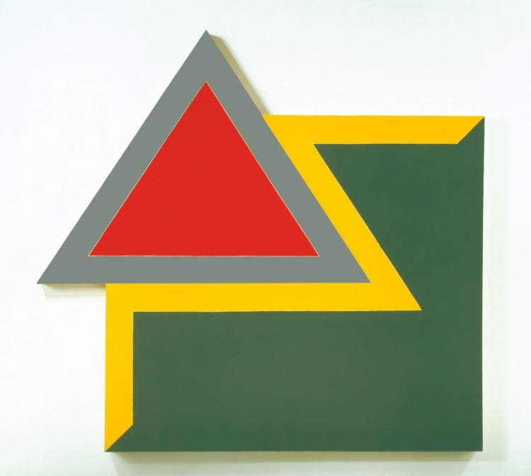 Frank Stella: Irregular Polygons Exhibition credit: Organized by the Hood Museum of Art at Dartmouth College. Frank Stella, Chocorua IV, 1966, fluorescent alkyd and epoxy paints on canvas, 120 x 128 x 4 in. (304.8 x 325.12 x 10.16 cm). Hood Museum of Art, Dartmouth College: Purchased through the Miriam and Sidney Stoneman Acquisitions Fund, a gift from Judson and Carol Bemis '76, and gifts from the Lathrop Fellows in honor of Brian Kennedy, Director of the Hood Museum of Art, 2005–2010; 2010.50. © 2010 Frank Stella / Artists Rights Society (ARS), New York. Photo by Steven Sloman.