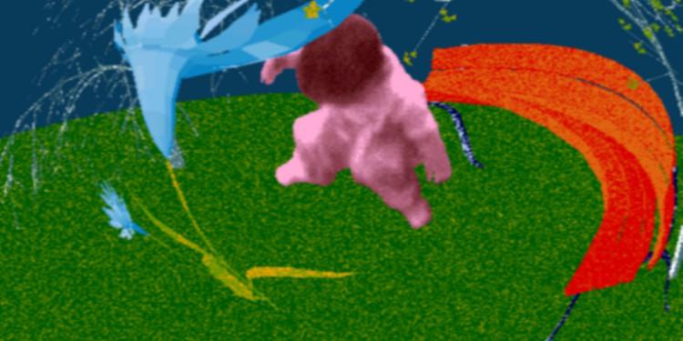 """Waliczky Tamás: A kert (21. századi amatőrfilm) / The Garden (21st Century Amateur Film), 1992-1996 számítógépes animáció, loop / Computer animation, video installation, 1/5 3'3"""" Múzeumi vásárlás / Purchased, 2009"""