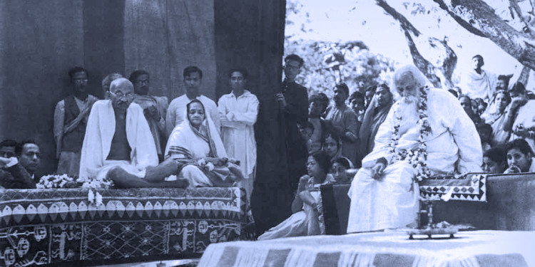 Rabindranath and Gandhiji at Amrakunja, by Shambhu Shaha. From Faces & Places of Visva-Bharati: A Collection of Photographs, by Shambhu Shaha, 2nd edn., Visva-Bharati Publishing Department, Kolkata, 2008. Rabindra Bhavana Acc. No. SS022.