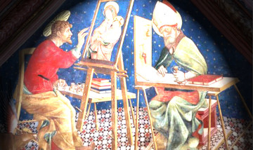 dall'affresco raff. San Luca evangelista, eseguito da Andrea Delitio (secolo XV) Duomo di Atri (TE).