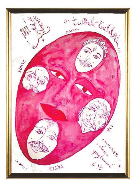 Luigi Ontani, progetto per Maschera, china e acquerello, 2009-2010