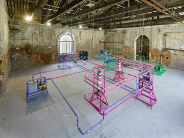 Ayşe Erkmen, Plan B, 2011 Installation Water purification units with extended pipes and cables Photo credit: Roman Mensing / artdoc.de The Pavilion of Turkey, The 54th International Art Exhibition, Venice Biennale