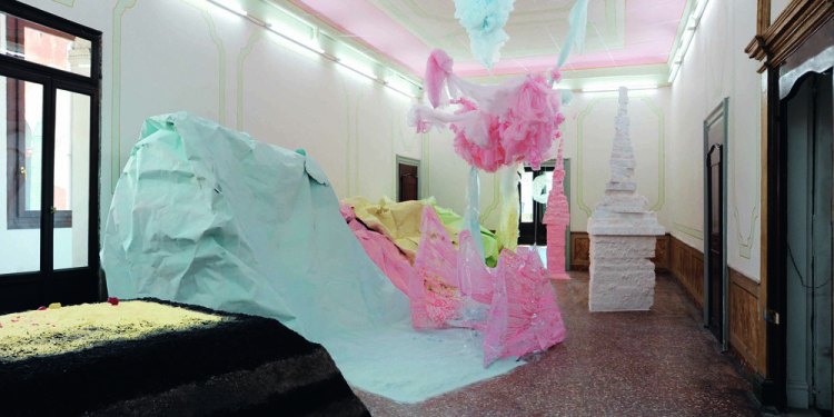 Karla Black, Installation View, Palazzo Pisani (S.Marina) at the Venice Biennale, 2011 Courtesy the artist and Gallery Gisela Capitain. Photo: Gautier Deblonde