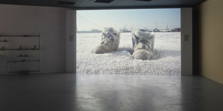 Sigalit Landau Salted Lake (Salt Crystal Shoes on a frozen Lake), 2011 HD-Video, 11:04 Installation view, Israeli Pavilion, 54th Venice Biennale, Venice, 2011 © Sigalit Landau Courtesy the artist and kamel mennour, Paris