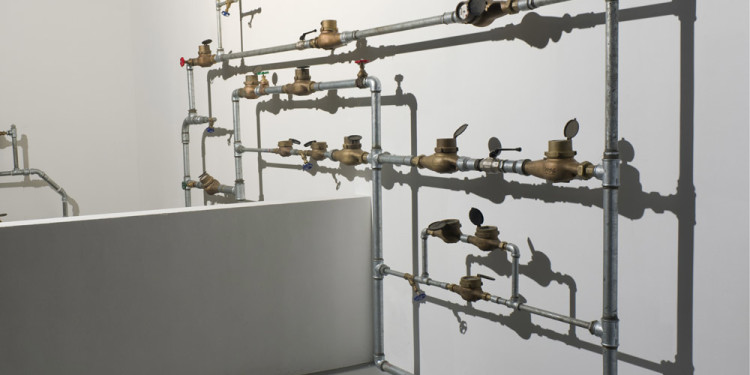 Sigalit Landau Water Ladder I (Romeo), 2011 Metal Pipes, metal tubes, water meter and bricks 420x440x25cm Installation view, Israeli Pavilion, 54th Venice Biennale, Venice, 2011 © Sigalit Landau Courtesy the artist and kamel mennour, Paris