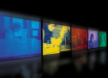 Susan Hiller 'Psi Girls', 1999 Video installation: 5 synchronised programmes, 5 projections, colour with stereo sound, real-time audio processing. Programme duration 20 minutes Dimensions variable