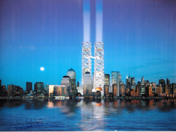 """THINK Design. Perspective of World Cultural Center. World Trade Center Competition, New York, New York. 2002. Ink Jet print, 12 ¾"""" x 19"""" (32.4 x 45.7cm). Image courtesy of The Museum of Modern Art."""
