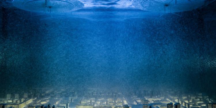 """Aleksandr Brodsky Organetto. dal progetto «Luoghi disabitati» 2006 Acquario, metallo, plastica, retroilluminazione, suono. Barrel organ 2006 Project """"Inhabited locality» Installation:aquarium, metal, plastic , booster-light, sound"""