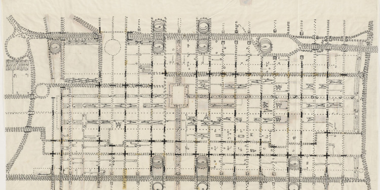 "Louis I. Kahn. Traffic Study, project Philadelphia. 1952. Ink, graphite, and cut-and-pasted papers on paper, 24 1/2 x 42 3/4"" (62.2 x 108.6 cm). Image courtesy of The Museum of Modern Art."