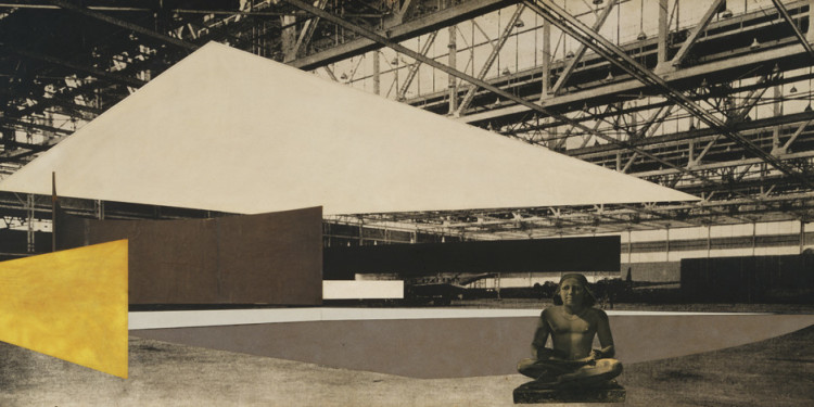 "Ludwig Mies van der Rohe. Concert Hall Project: interior perspective. 1942. Graphite, cut-and-pasted photoreproduction, cut-and-pasted papers, cut-and-pasted painted paper, and gouache on gelatin silver photograph mounted on board, 29 1/2 x 62"" (75 x 157.5 cm). Mies van der Rohe Archive. Image courtesy of The Museum of Modern Art."