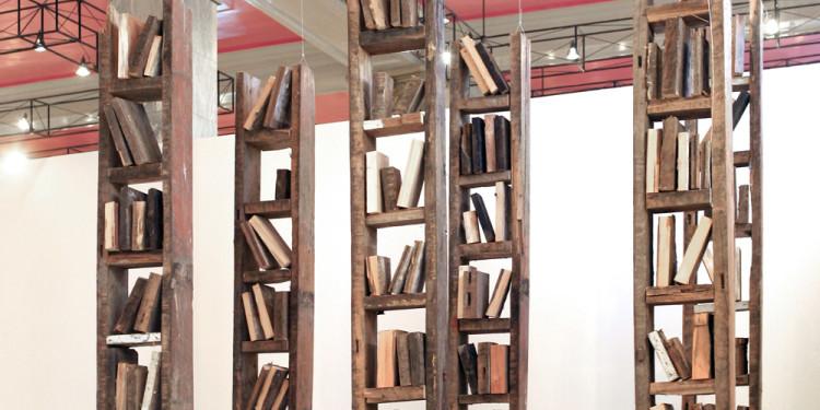 Petr Bely, Libreria Pinocchio 2008 Installazione Legno Pinocchio's Library 2008 Installation Wood