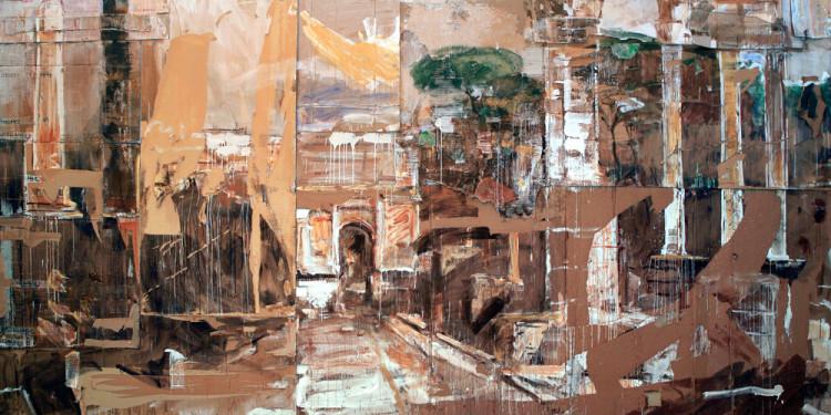 Valery Koshlyakov, Il Foro 2008 Cartone ondulato, tempera Forum 2008 Cardboard, tempera