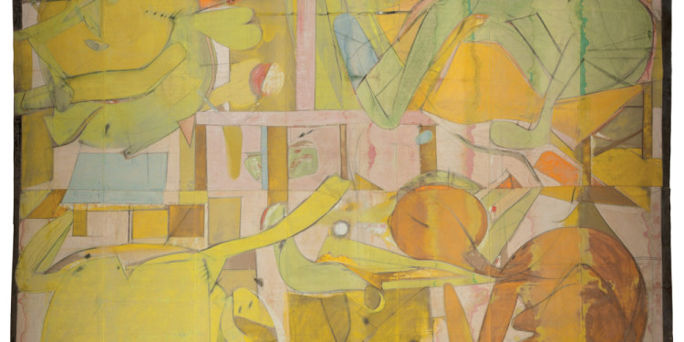 "Willem de Kooning (American, born the Netherlands. 1904-1997) Backdrop for Labyrinth 1946 Calcimine and charcoal on canvas 182 x 210"" (462.3 x 533.4 cm) The Allan Stone Collection © 2011 The Willem de Kooning Foundation/Artists Rights Society (ARS), New York"