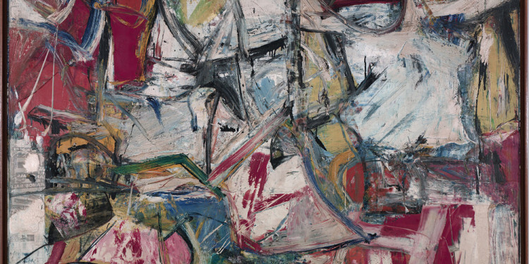 "Willem de Kooning (American, born the Netherlands. 1904-1997) Gotham News 1955 Oil, enamel, charcoal, and newspaper transfer on canvas 69 x 79"" (175.3 x 200.7 cm) Albright-Knox Art Gallery, Buffalo. Gift of Seymour H. Knox, Jr. © 2011 The Willem de Kooning Foundation / Artists Rights Society (ARS), New York"