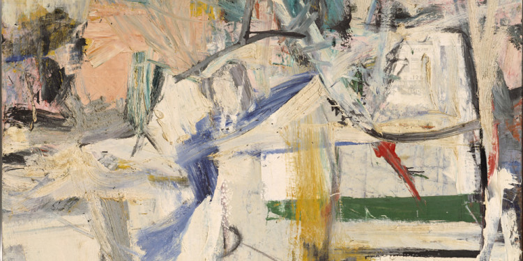 "Willem de Kooning (American, born the Netherlands. 1904-1997) Easter Monday 1955-56 Oil and newspaper transfer on canvas 96 x 74"" (243.8 x 188 cm) The Metropolitan Museum of Art, New York. Rogers Fund © 2011 The Willem de Kooning Foundation/Artists Rights Society (ARS), New York"