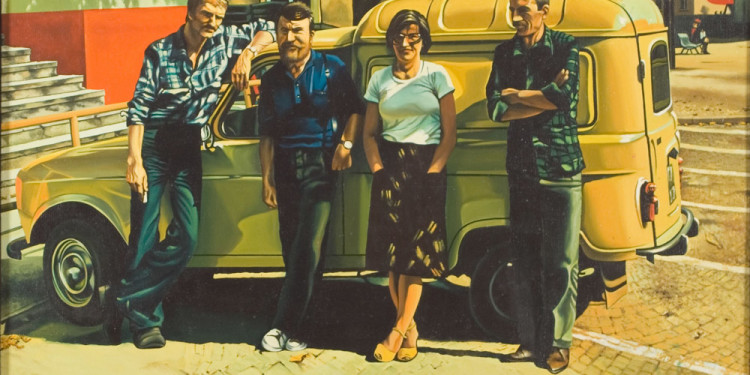 Andrzej Sadowski Group Portrait with the yellow Renault 1978 oil on canvas 60 x 73 cm Courtesy of Zachęta National Gallery of Art