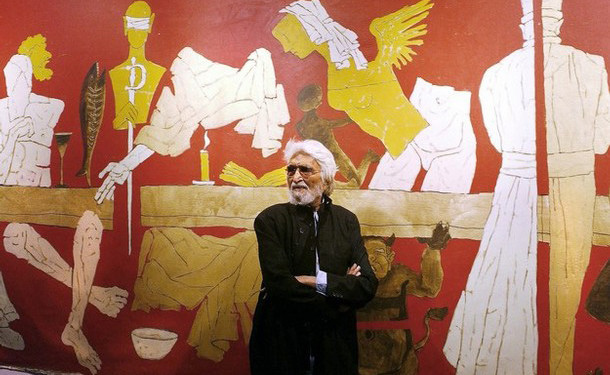 "In this file photo taken on January 14, 2004 Indian artist Maqbool Fida (M.F) Hussain stands against one of his paintings titled 'Last Supper' at the inauguration of his exhibition'...and not only 88 of Hussain' at the National Art Gallery in Mumbai. An Indian court on May 8, 2008 cleared famed painter Maqbool Fida Husain, living in self-imposed exile in Dubai and London, of obscenity criminal charges over his depiction of India as a nude woman. ""The allegations made against the painter are baseless,"" said Justice Sanjay Kishan Kaul of the Delhi High Court in a 74-page judgment, according to a Press Trust of India news agency report. AFP PHOTO/SEBASTIAN D'SOUZA (Photo credit should read SEBASTIAN D'SOUZA/AFP/Getty Images)"