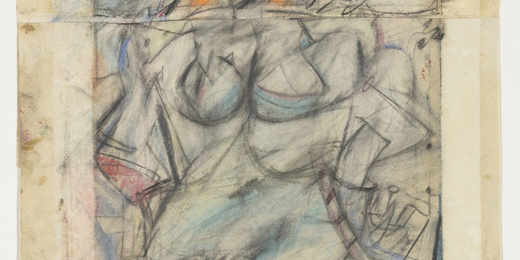 "Willem de Kooning (American, born the Netherlands. 1904-1997) Seated Woman (1952) Pencil, pastel, and oil on two sheets of paper 12 1/8 x 9 1/2"" (30.8 x 24.2 cm) The Museum of Modern Art, New York. The Lauder Foundation Fund © 2011 The Willem de Kooning Foundation/Artists Rights Society (ARS), New York"