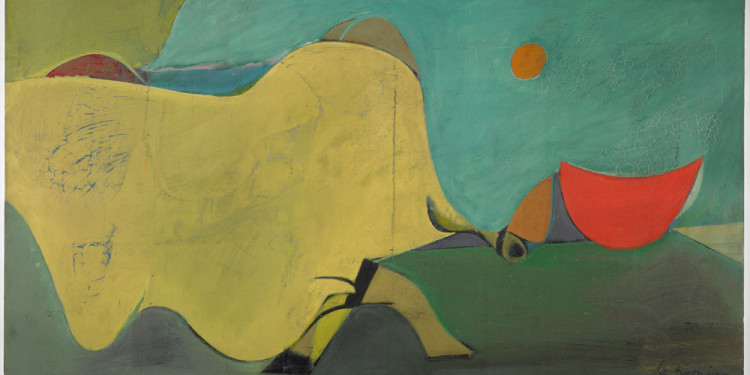 "Willem de Kooning (American, born the Netherlands. 1904-1997) Untitled (The Cow Jumps Over the Moon) 1937-38 Oil on masonite 20 1/2 x 36 5/8"" (52 x 93 cm) Harvard Art Museums/Fogg Museum. Gift of Dr. Ernest G. Stillman, Class of 1907, by exchange © 2011 The Willem de Kooning Foundation/Artists Rights Society (ARS), New York"