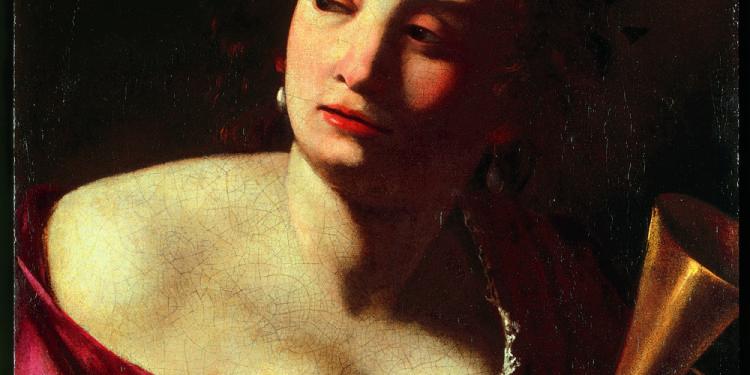 Artemisia Gentileschi Allegoria della Fama 1630-35 circa Olio su tela, cm 57,5 x 51,5 Robilant+Voena, Londra-Milano © Manusardi Art Photo Studio, Milano
