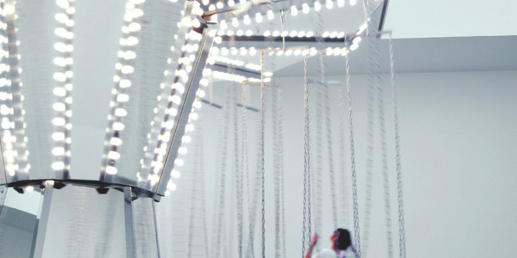 "Carsten Höller, Mirror Carousel, 2005. Installation view, ""Logic,"" Gagosian Gallery, London. Photo: © Attilio Maranzano"