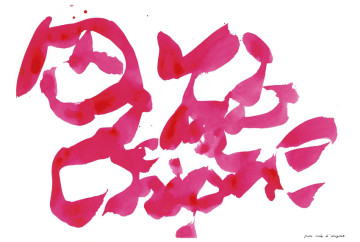 Christian Dotremont (Tervuren 1922 - Tervuren 1979) par voie d'origine, ca. 1968 Red ink on paper 178 x 270 mm.