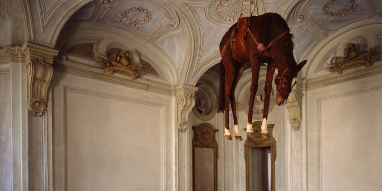 MAURIZIO CATTELAN: ALL Maurizio Cattelan Novecento, 1997 Taxidermied horse, leather saddle, rope, and pulley, 201.2 x 271.3 x 68.6 cm © Maurizio Cattelan Photo: Paolo Pellion di Persano, courtesy the artist