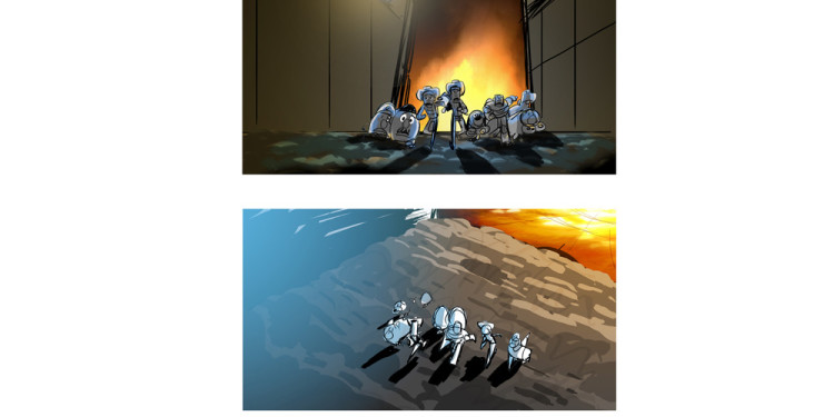James Robertson Storyboard Fire effects di Andrew Jimenez TOY STORY 3 (2010) Dipinto Digitale