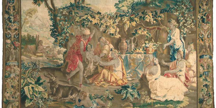 MERCURIUS HANDS OVER THE INFANT BACCHUS TO THE NYMPHS Workshop of Jacob van der Borght, Brussels, c. 1700. Museum of Applied Arts, Budapest Woven from wool and silk using the Gobelin technique; density of the warp: 7/cm; size: 442x309cm