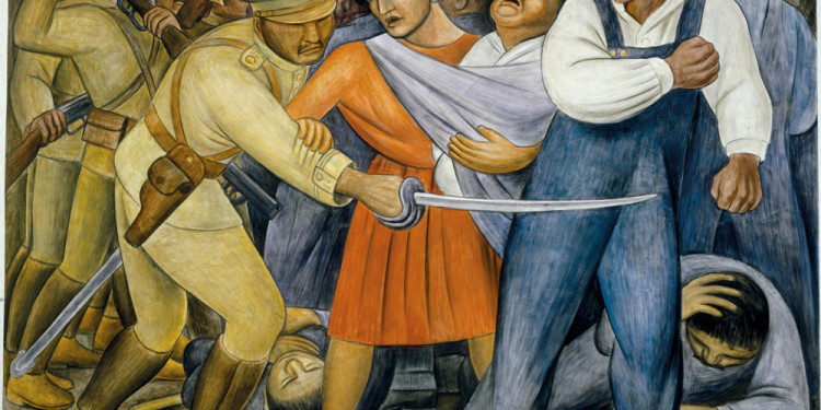 "Diego Rivera. The Uprising. 1931. Fresco on reinforced cement in a galvanized-steel framework, 74 x 94 1/8"" (188 x 239 cm). Private collection, Mexico © 2011 Banco de México Diego Rivera & Frida Kahlo Museums Trust, México, D.F./Artists Rights Society (ARS), New York"