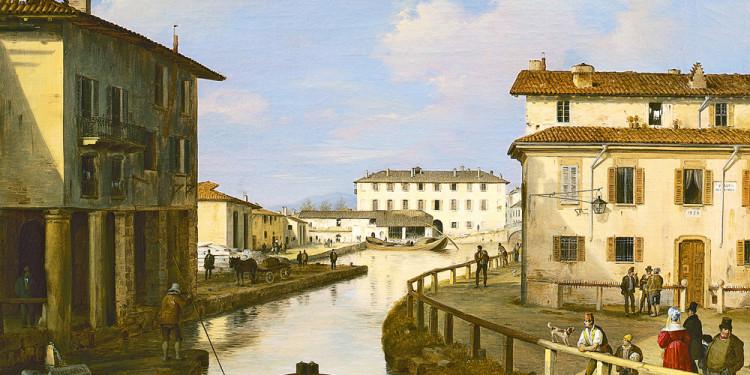 Angelo Inganni (Brescia 1807 – 1880) Il Naviglio dal ponte di San Marco, 1834-1837 Olio su tela, 46,2 x 56,5 cm Collezione Intesa Sanpaolo