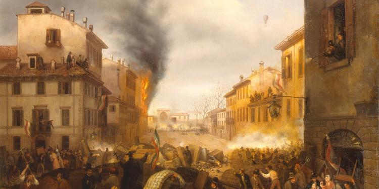 Carlo Canella (Verona 1800 – Milano 1879) Porta Tosa in Milano (il 22 marzo 1848), 1848-1850 Olio su tela, 74 x 94,5 cm Collezione Intesa Sanpaolo