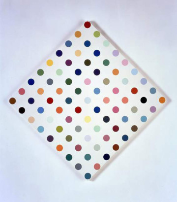 DAMIEN HIRST Eucatropine, 2005 Household gloss on canvas 34 x 34 in (diamond) 86.4 x 86.4 cm (2 inch spot),Photographed by Prudence Cuming Associates © Damien Hirst and Science Ltd. All rights reserved, DACS 2011 Courtesy Gagosian Gallery