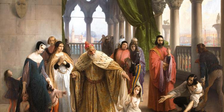 Francesco Hayez (Venezia 1791 – Milano 1882) L'ultimo abboccamento di Jacopo Foscari con la propria famiglia (I due Foscari), 1838-1840 Olio su tela, 165 x 233 cm Collezione Fondazione Cariplo