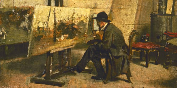 Giovanni Boldini (Ferrara 1842 – Parigi 1931) Ritratto di Fattori nel suo studio, 1866-1867 Olio su tavola, 13 x 24 cm Collezione Intesa Sanpaolo
