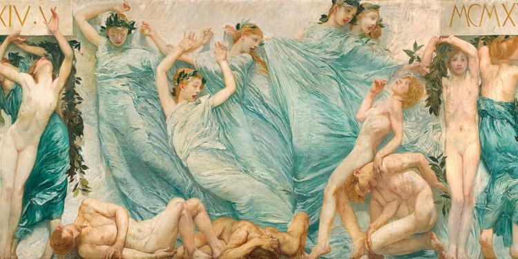 Giulio Aristide Sartorio (Roma 1860 – 1932) Risveglio, 1908-1923 Tempera cerosa su carta, 178,4 x 396 cm Collezione Fondazione Cariplo